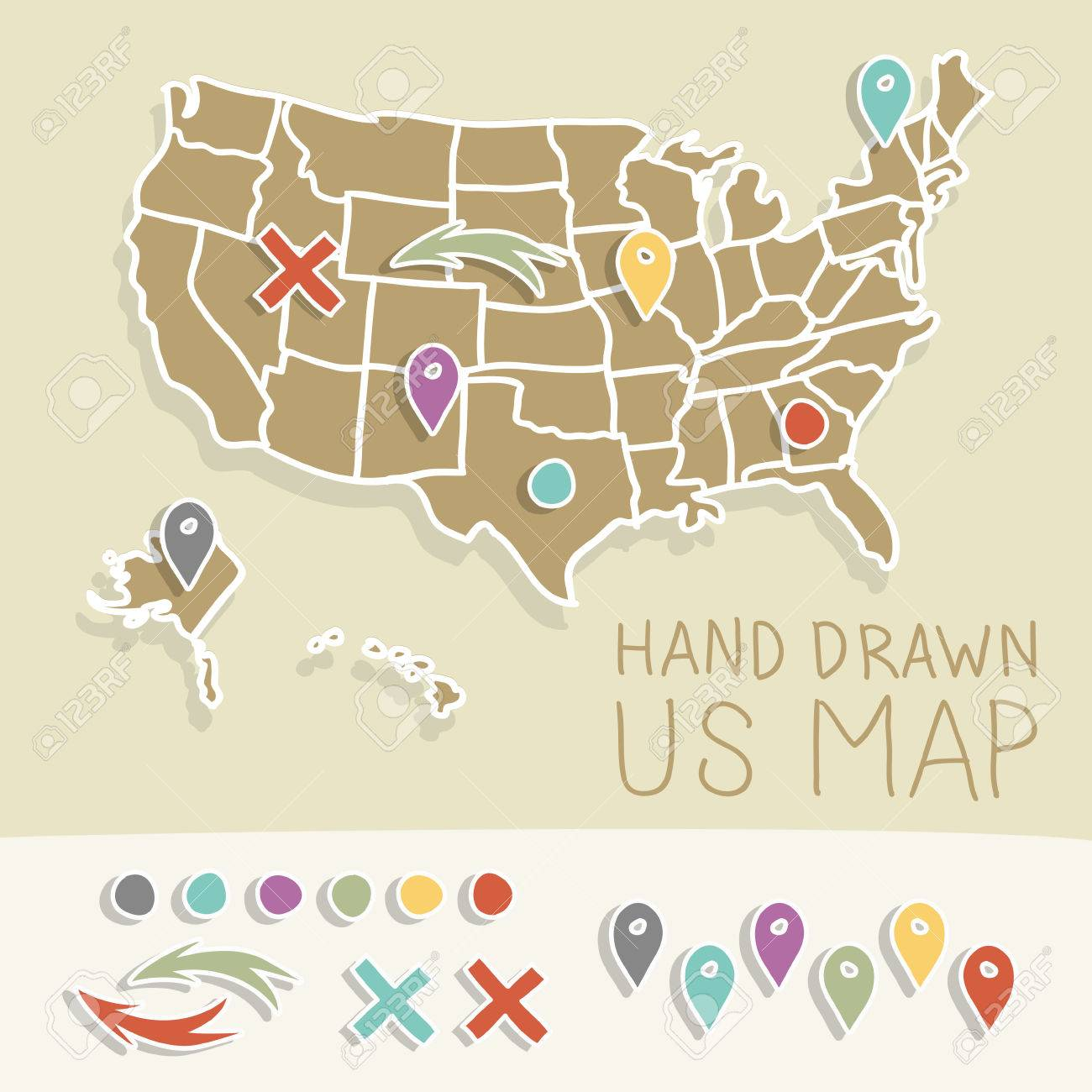 Vintage US Map Illustration Royalty Free Cliparts, Vectors, And ...