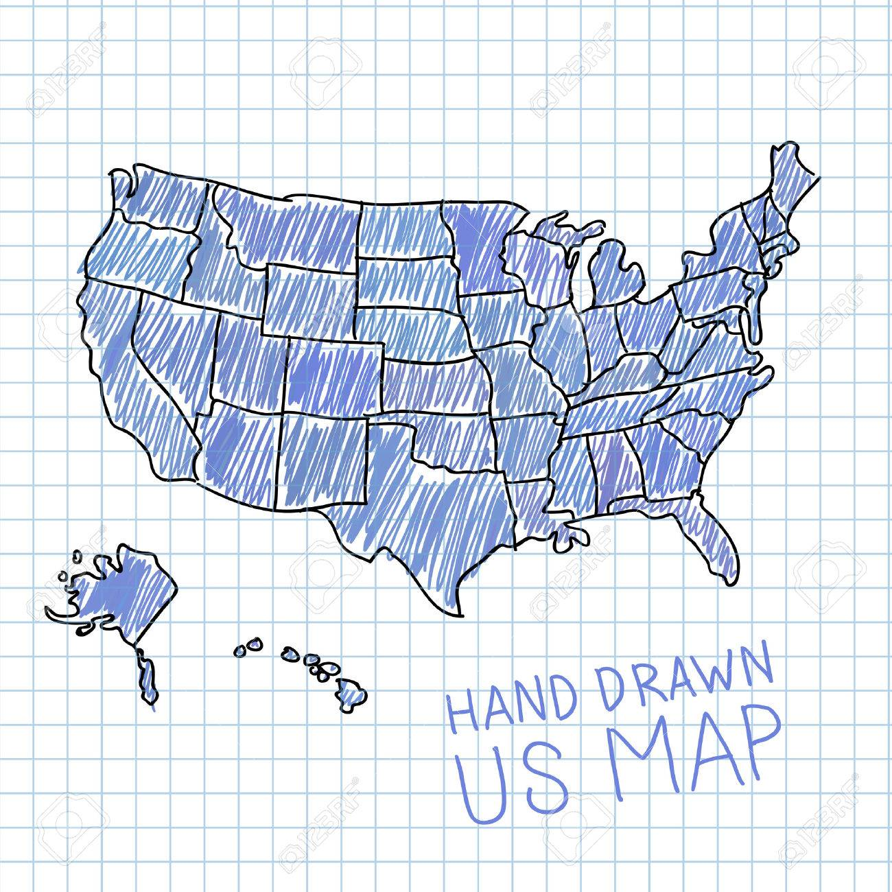 Hand Drawn US Map Vector Illustration Royalty Free Cliparts - Hand drawn us map vector