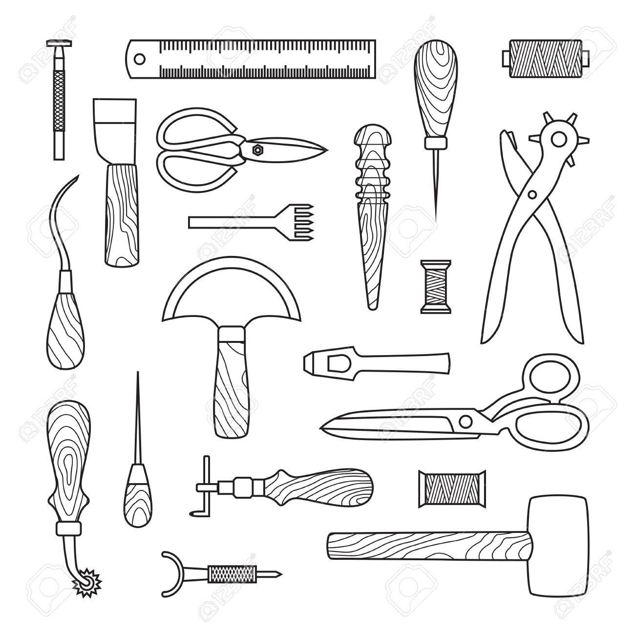 Gray Leather working tools on white background - 37681326