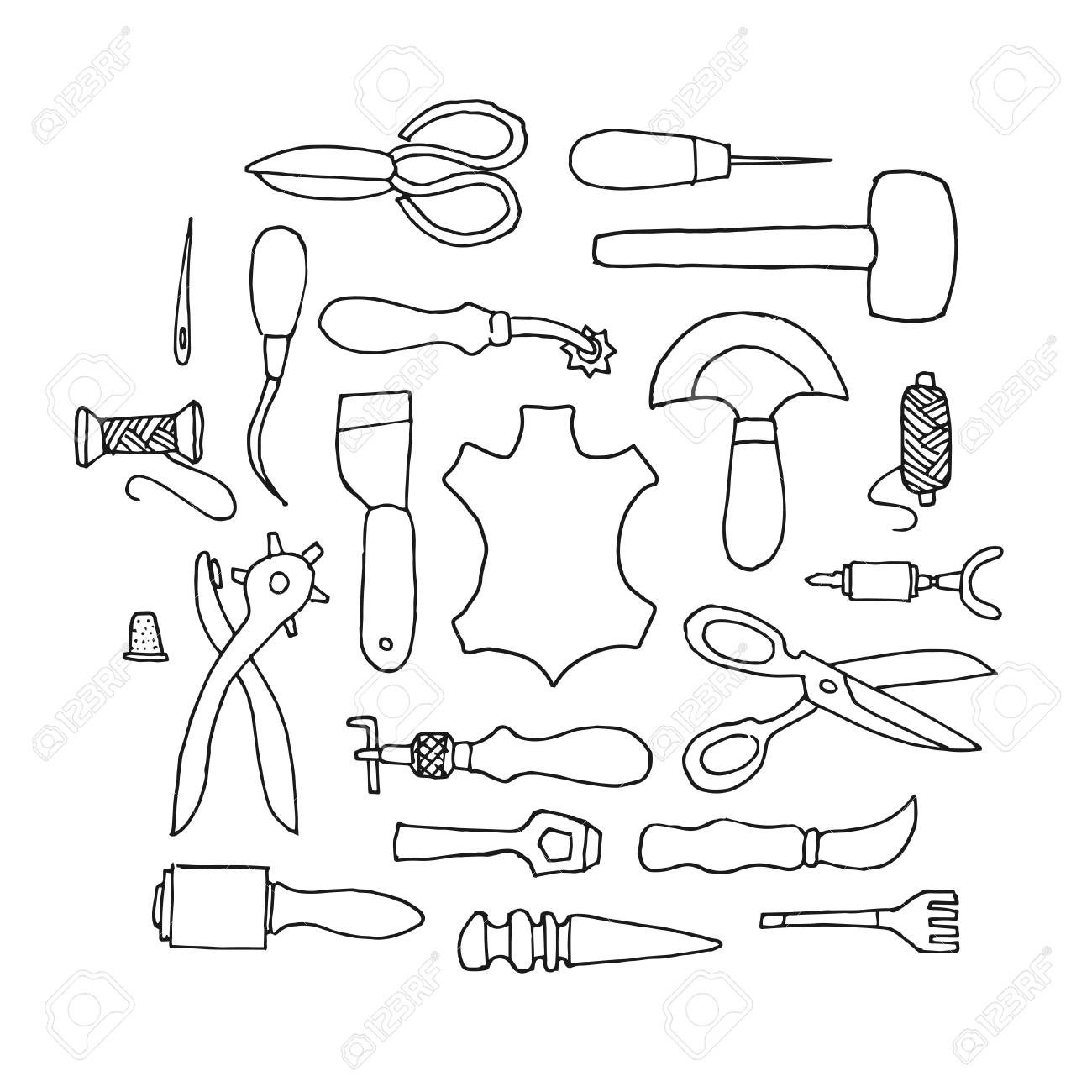 Hand drawn Leather working tools on white background - 37750415