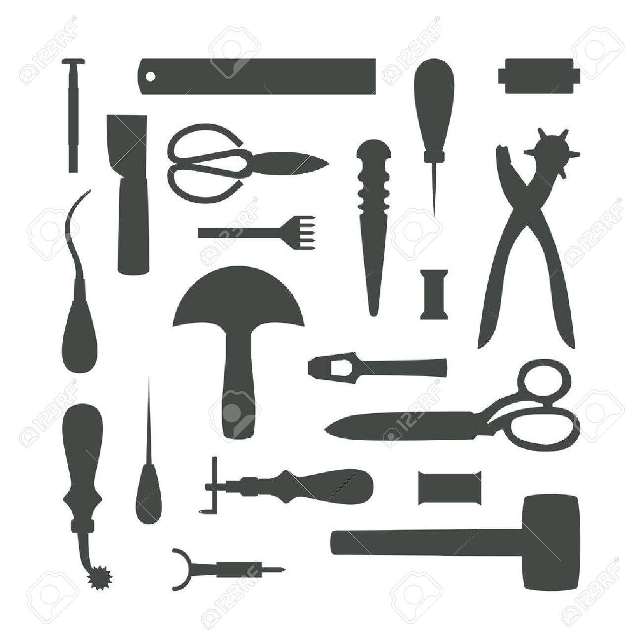 Gray tools silhouettes isolated on white background - 38626870