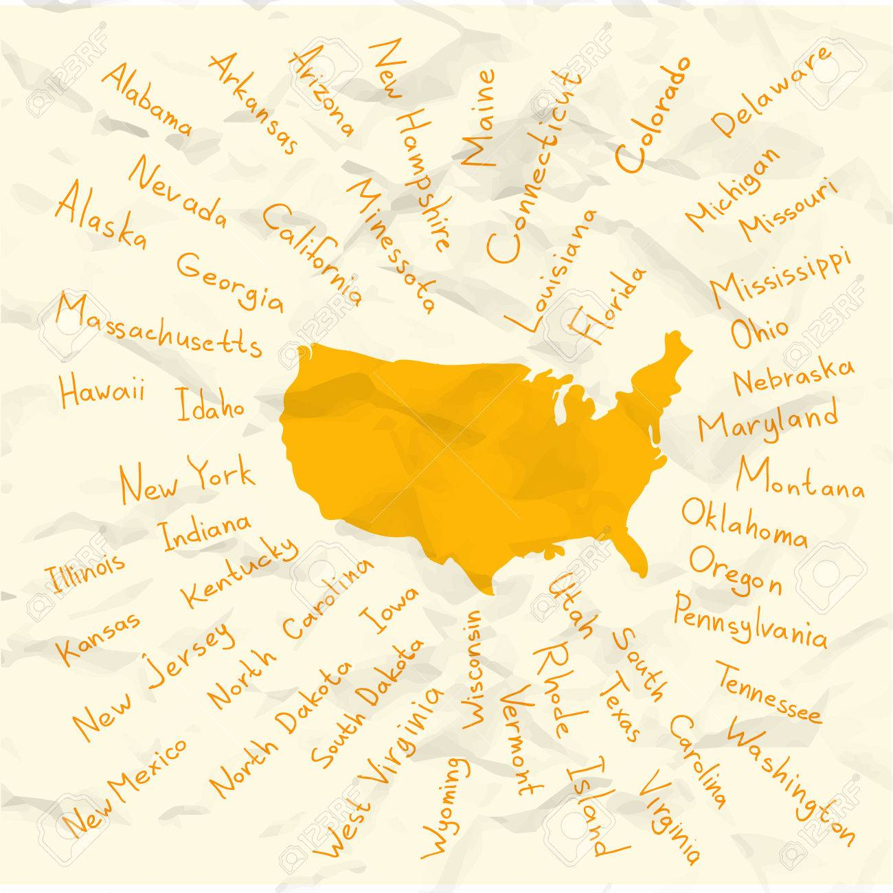 Hand Drawn USA Map With Handwritten State Names Royalty Free ...