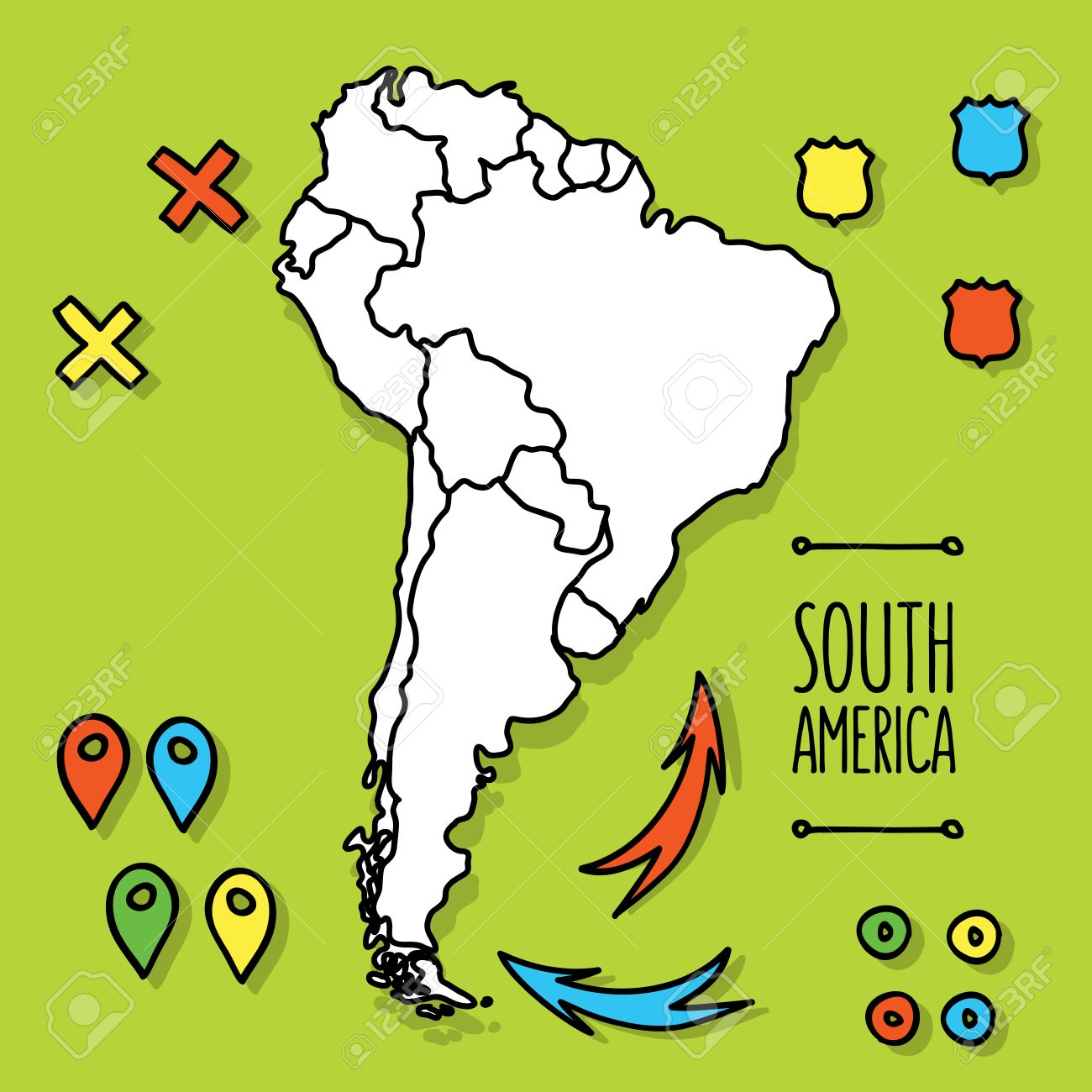 Cartoon Style Hand Drawn Travel Map Of South America With Pins – South America Travel Map