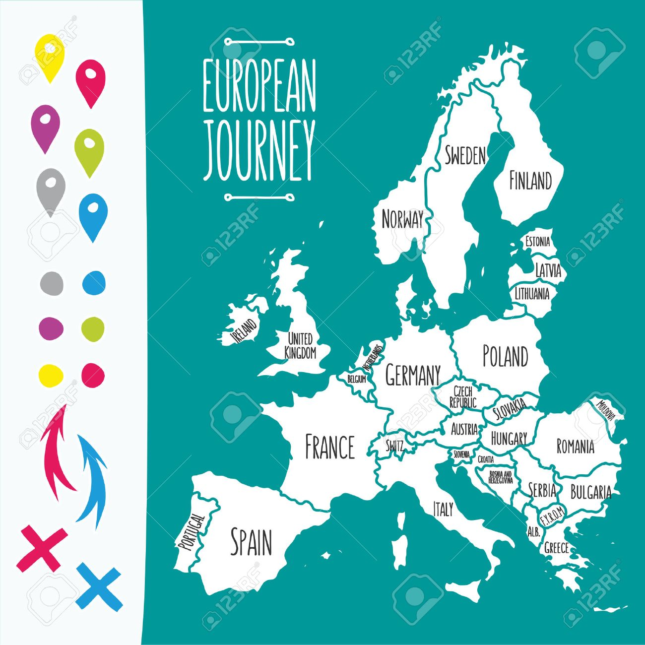 Vintage Hand Drawn Europe Travel Map With Pins Vector Illustration – Travel Maps Europe