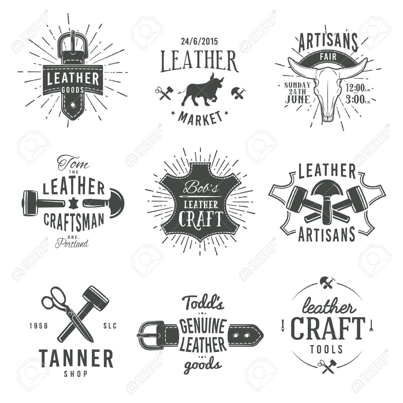 Second Set Of Grey Vector Vintage Craftsman Logo Designs Retro