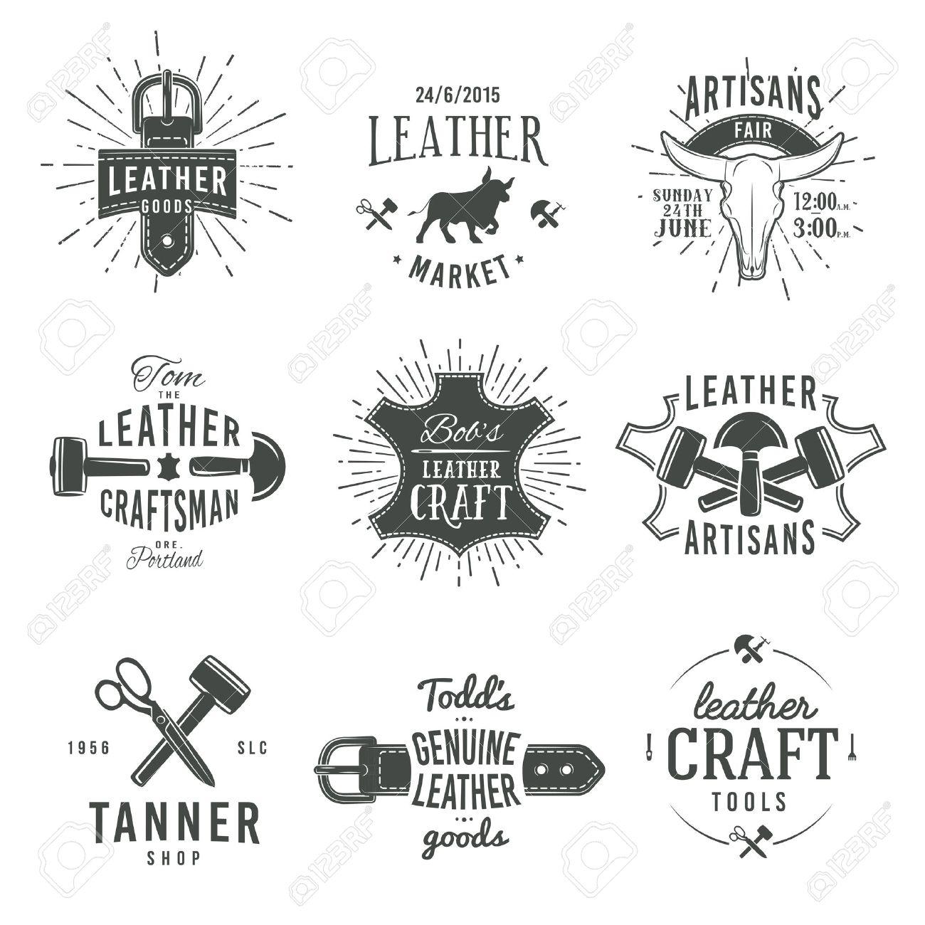 Second set of grey vector vintage craftsman logo designs, retro genuine leather tool labels. artisan craft market insignia illustration. - 41058038