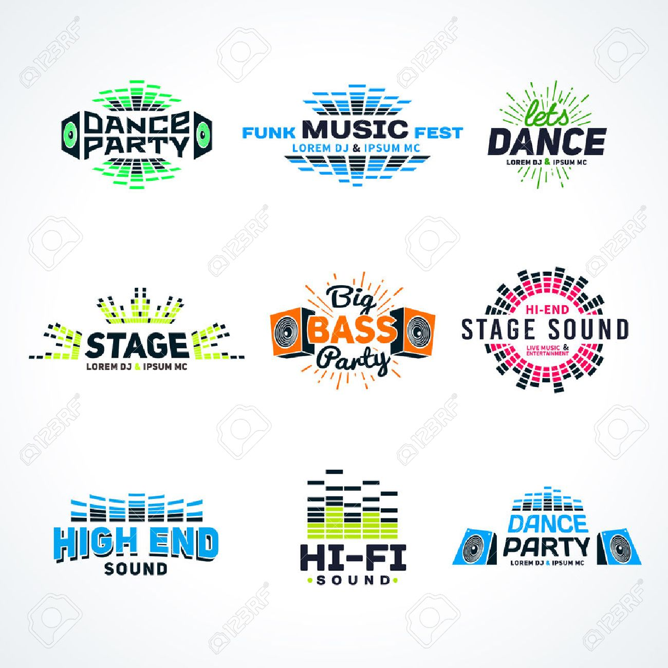 sixth set music equalizer emblem vector on light background royalty free cliparts vectors and stock illustration image 41068613 sixth set music equalizer emblem vector on light background