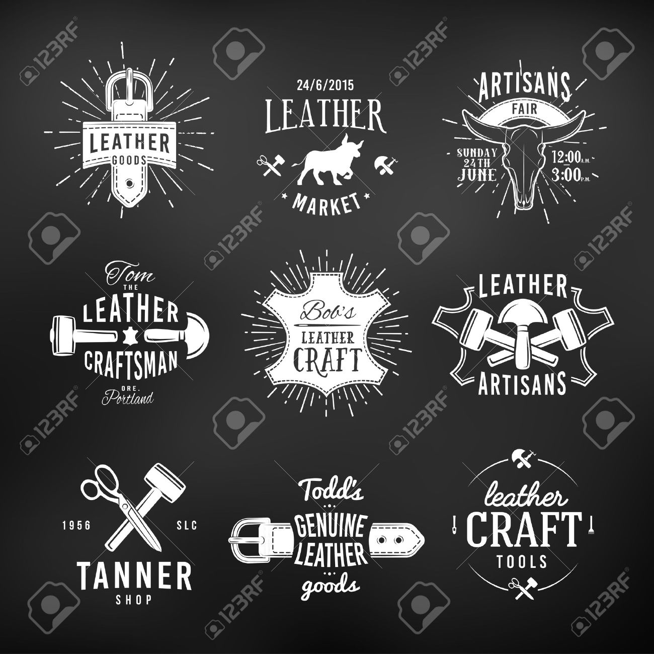 Set Of Leather Craft Logo Designs Retro Genuine Vintage Tool