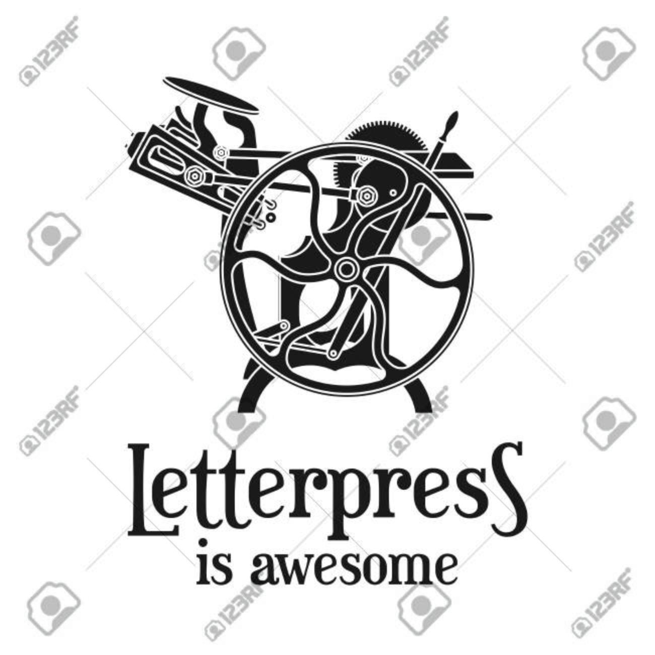 letterpress is awesome vector illustration vintage print logo