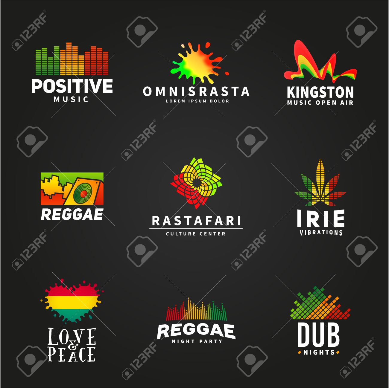 Rasta colors stock photos royalty free business images set of positive africa ephiopia flag logo design jamaica reggae dance music vector template biocorpaavc Image collections