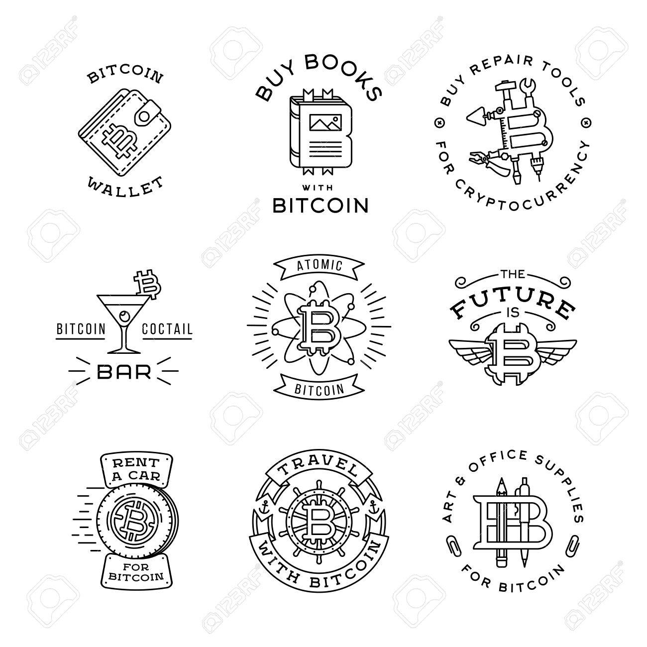 Bitcoin Logo Templates Set. Cryptocurrency Badge Collection ...