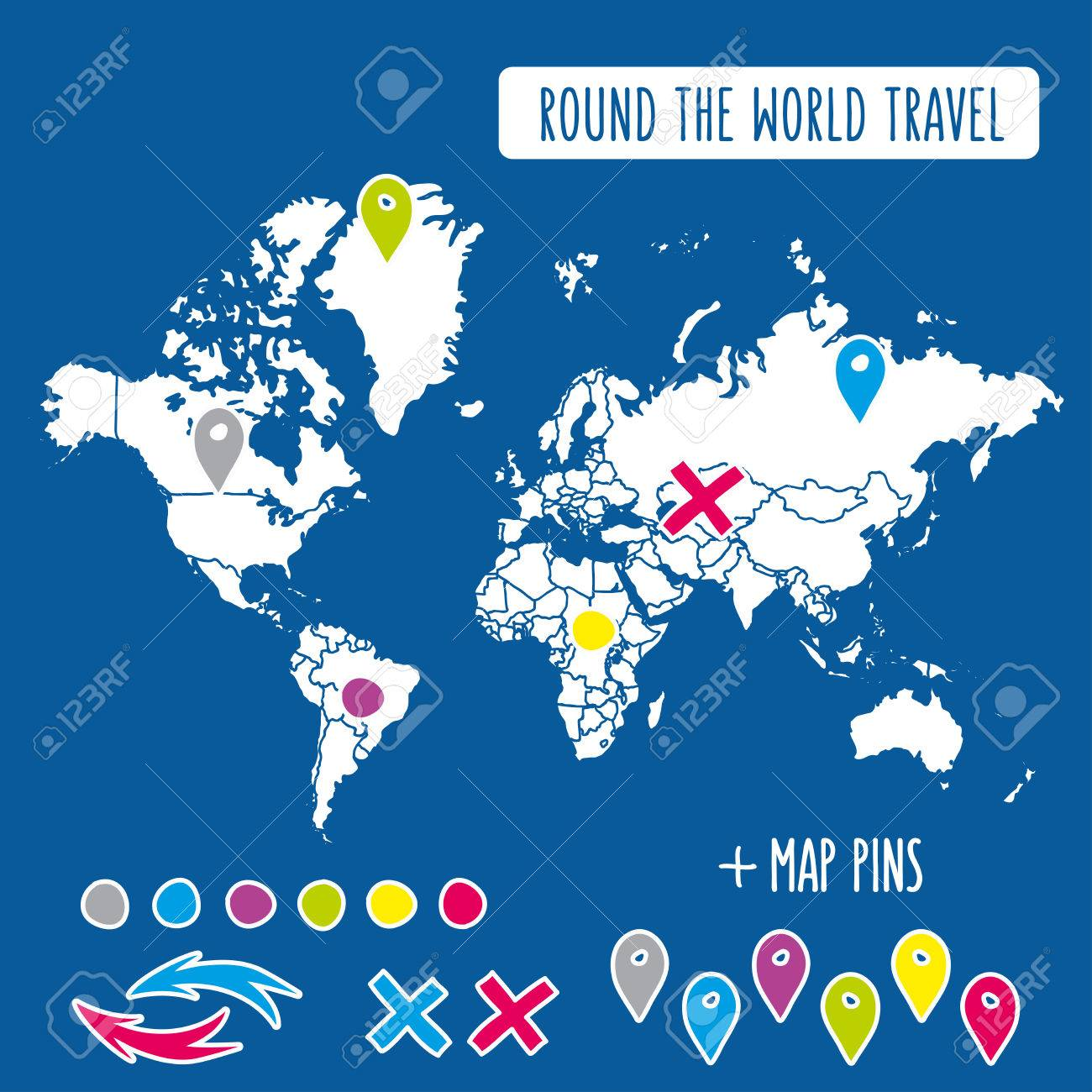 hand drawn world map with pins and arrows vector design cartoon style atlas illustration