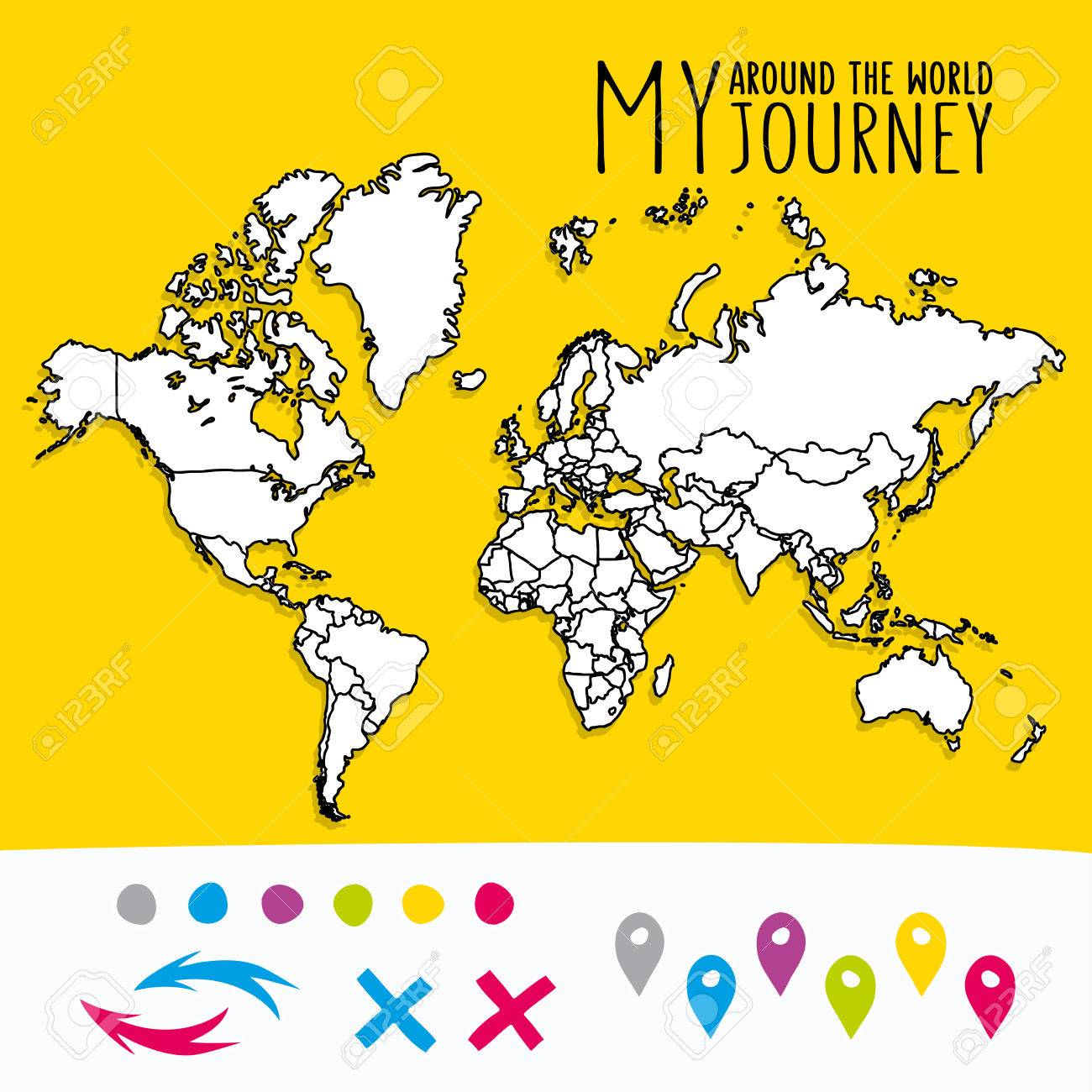 Hand drawn world map with pins and arrows vector design cartoon hand drawn world map with pins and arrows vector design cartoon style atlas illustration gumiabroncs Images