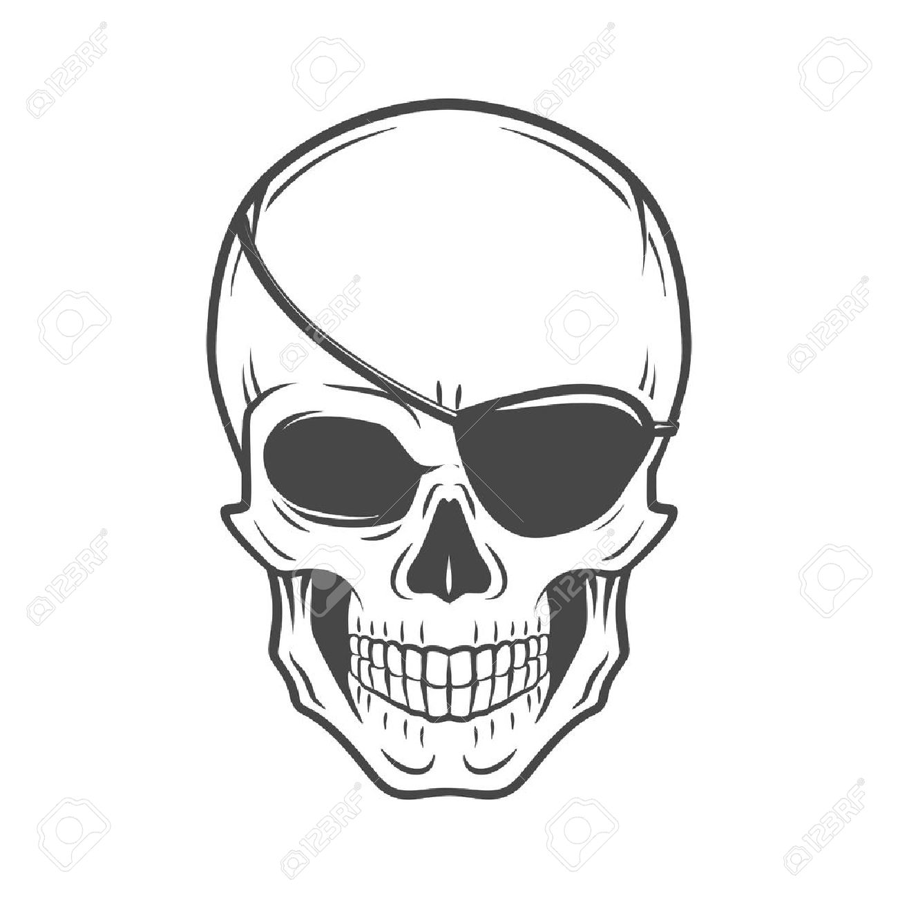 jolly roger with eyepatch logo template evil skull vector dark