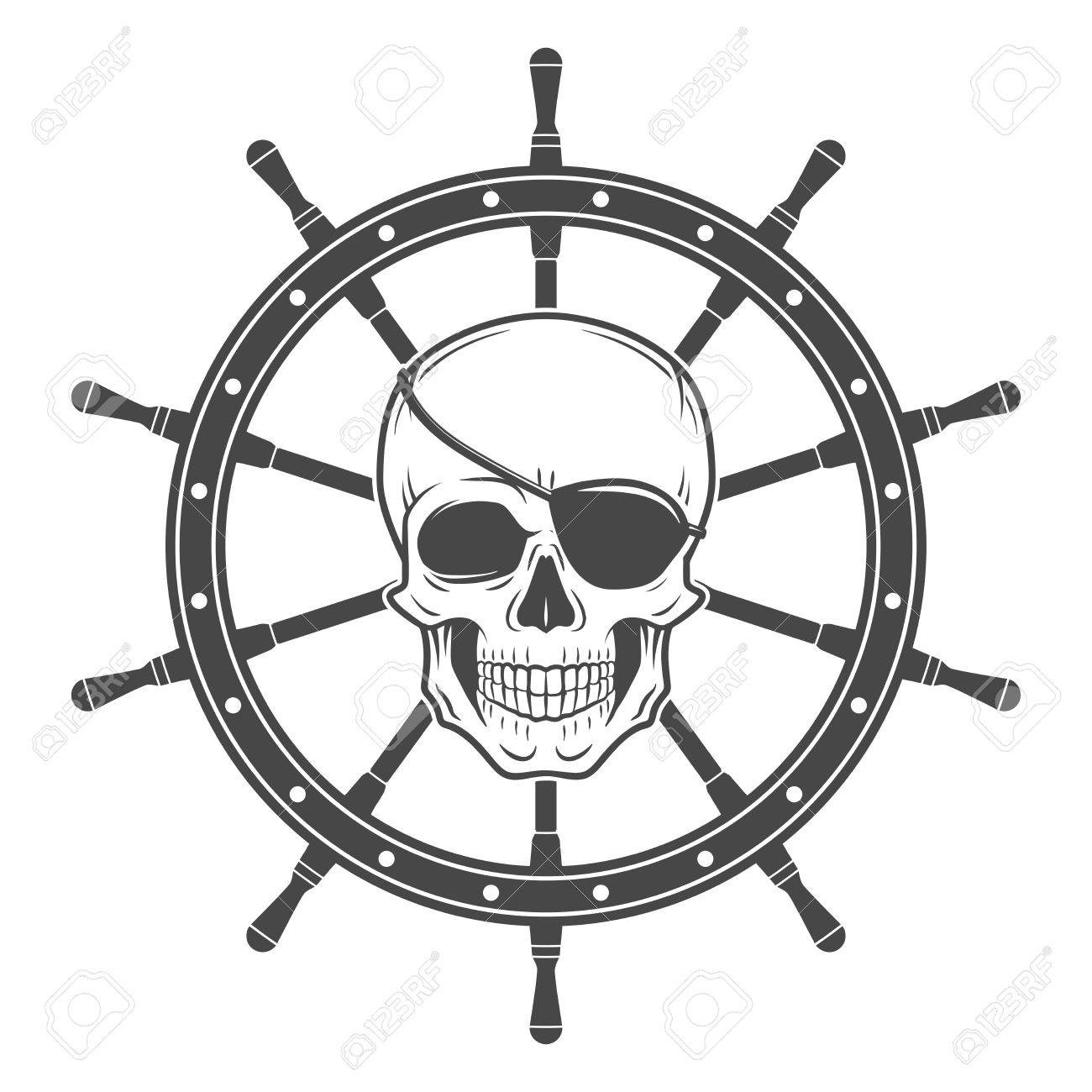 jolly roger with eyepatch logo template dark t shirt design