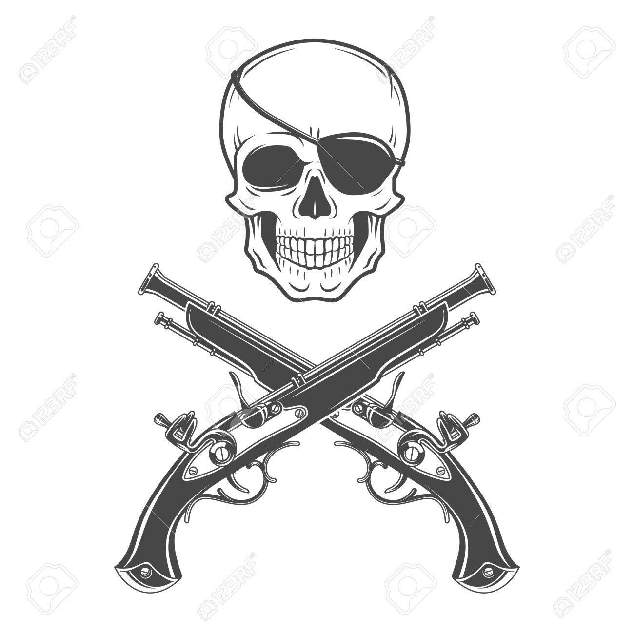 Jolly Roger Con Parche En El Ojo Y Pistolas Logotipo De La Plantilla ...
