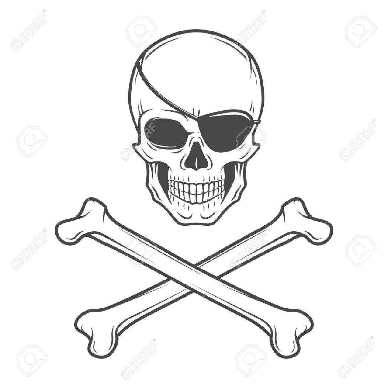 Jolly Roger, Con Plantilla De Logotipo Parche En El Ojo. Vector ...