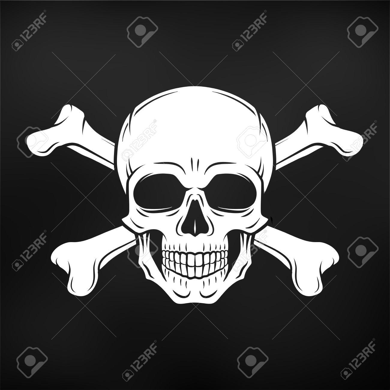 Mensch Böse Schädel. Jolly Roger Mit Gekreuzten Knochen-Logo-Vorlage ...