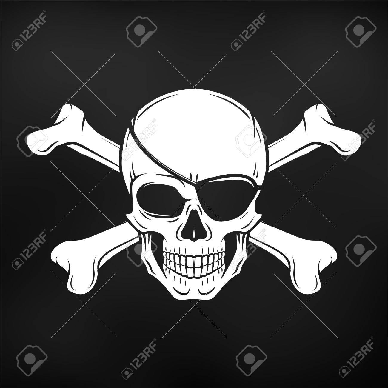 Jolly Roger Con Logotipo De La Plantilla Parche En El Ojo. Cráneo ...