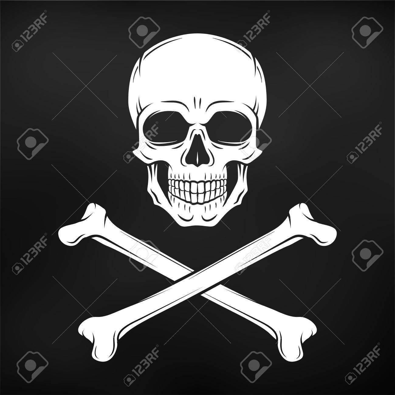 Human evil skull vector  Jolly Roger with crossbones logo template