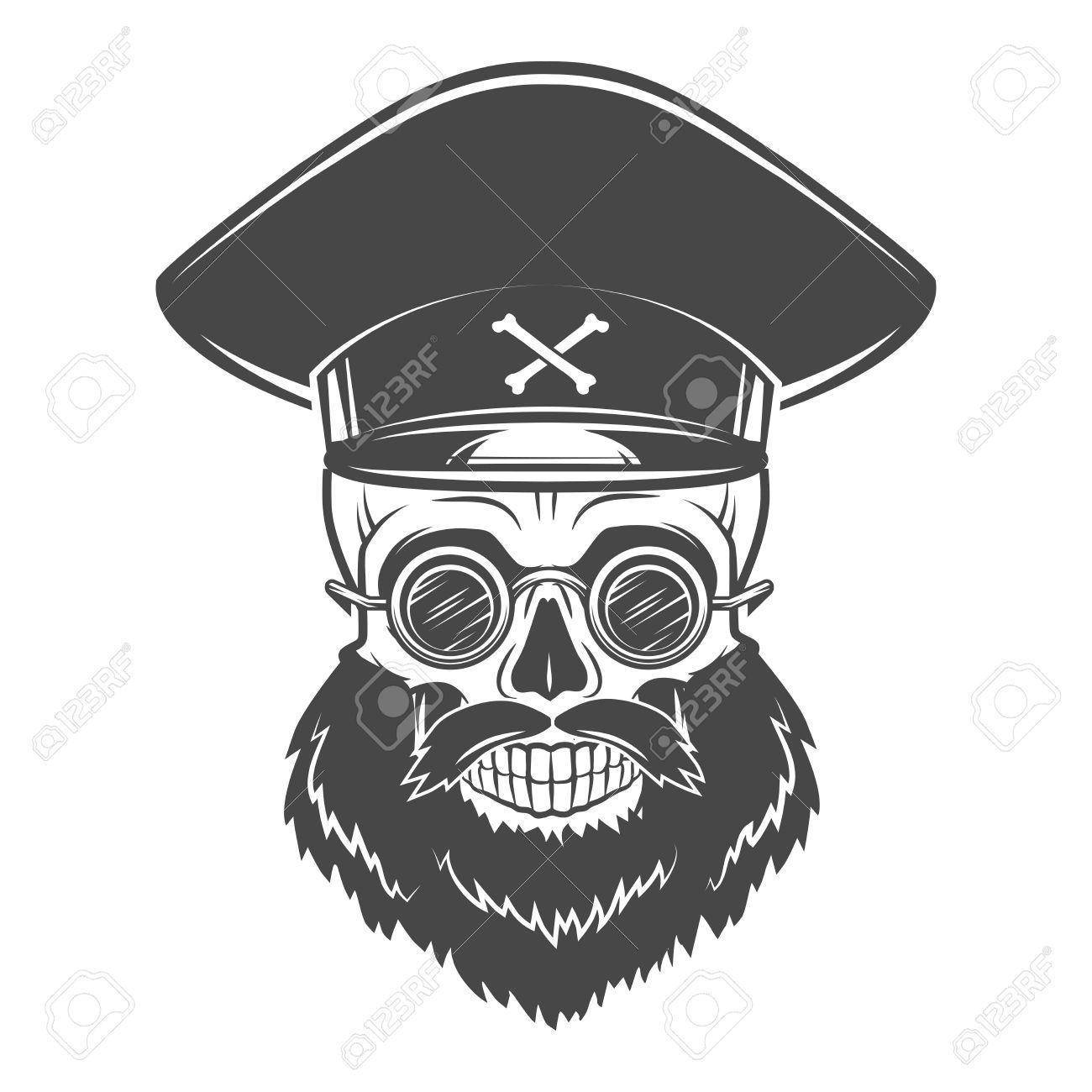 Bearded Skull with Captain cap and goggles. Dead crazy tyrant logo concept.  Vector dictator fba8a27e911