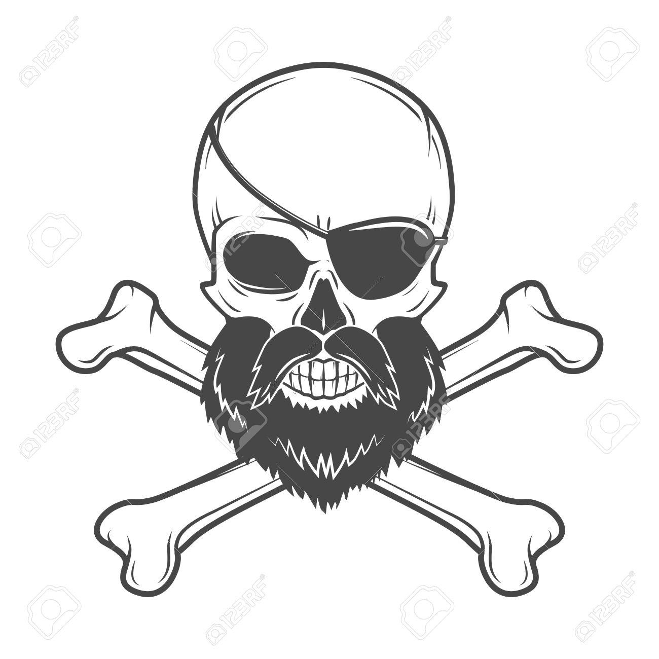Cráneo Del Pirata Con La Barba, Parche En El Ojo Y Huesos Cruzados ...