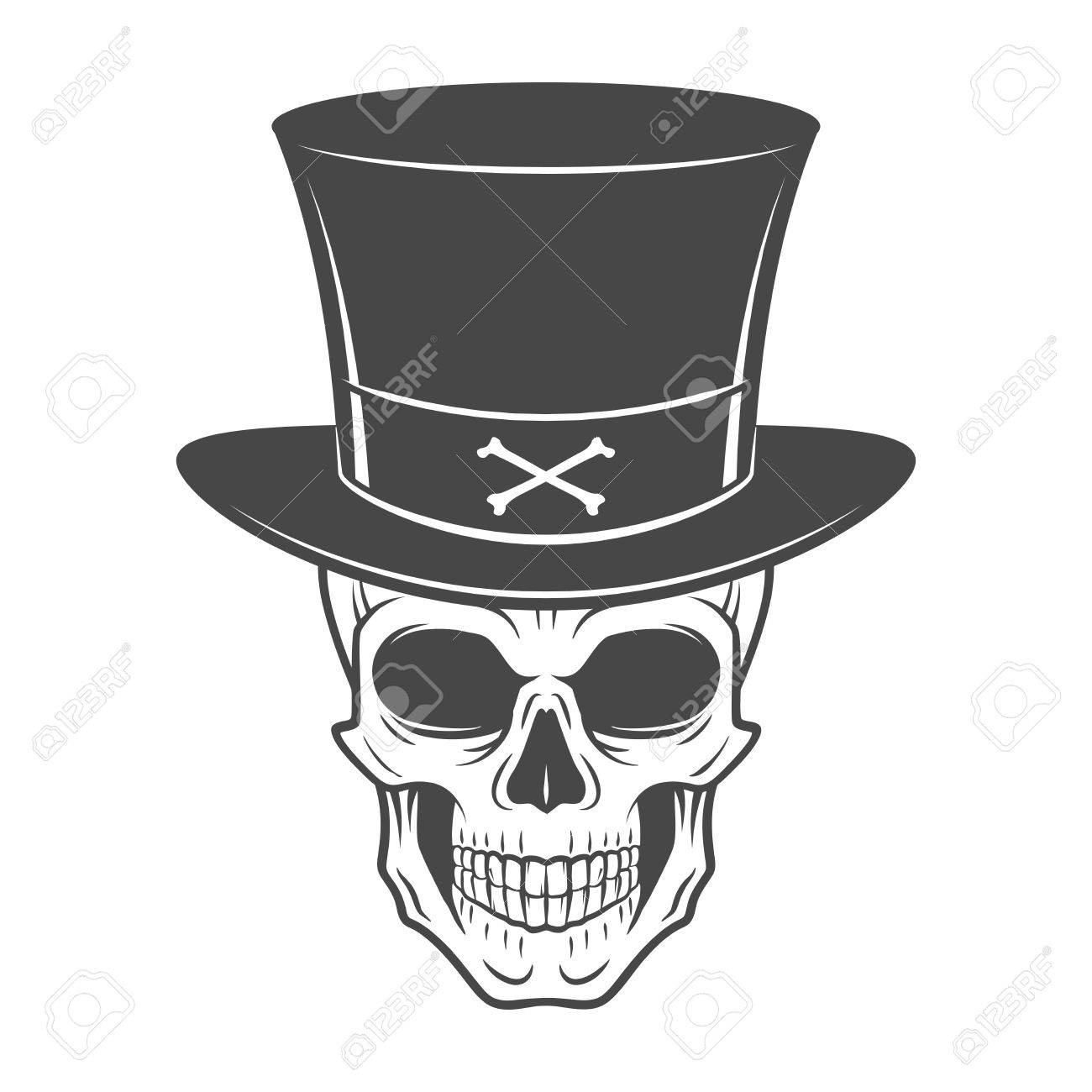Wild West Skull With Hat. Smiling Rover Logo Template. Wanted ...