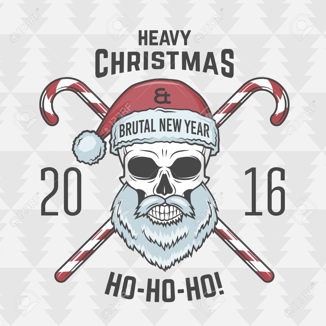 Heavy Metal Christmas.Bad Santa Claus Biker With Candies Print Design Heavy Metal