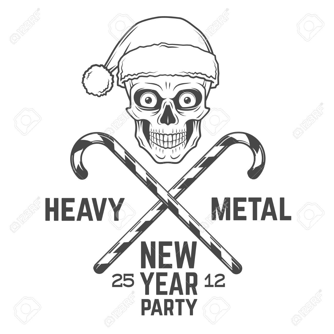 bad santa claus biker with candies print design heavy metal