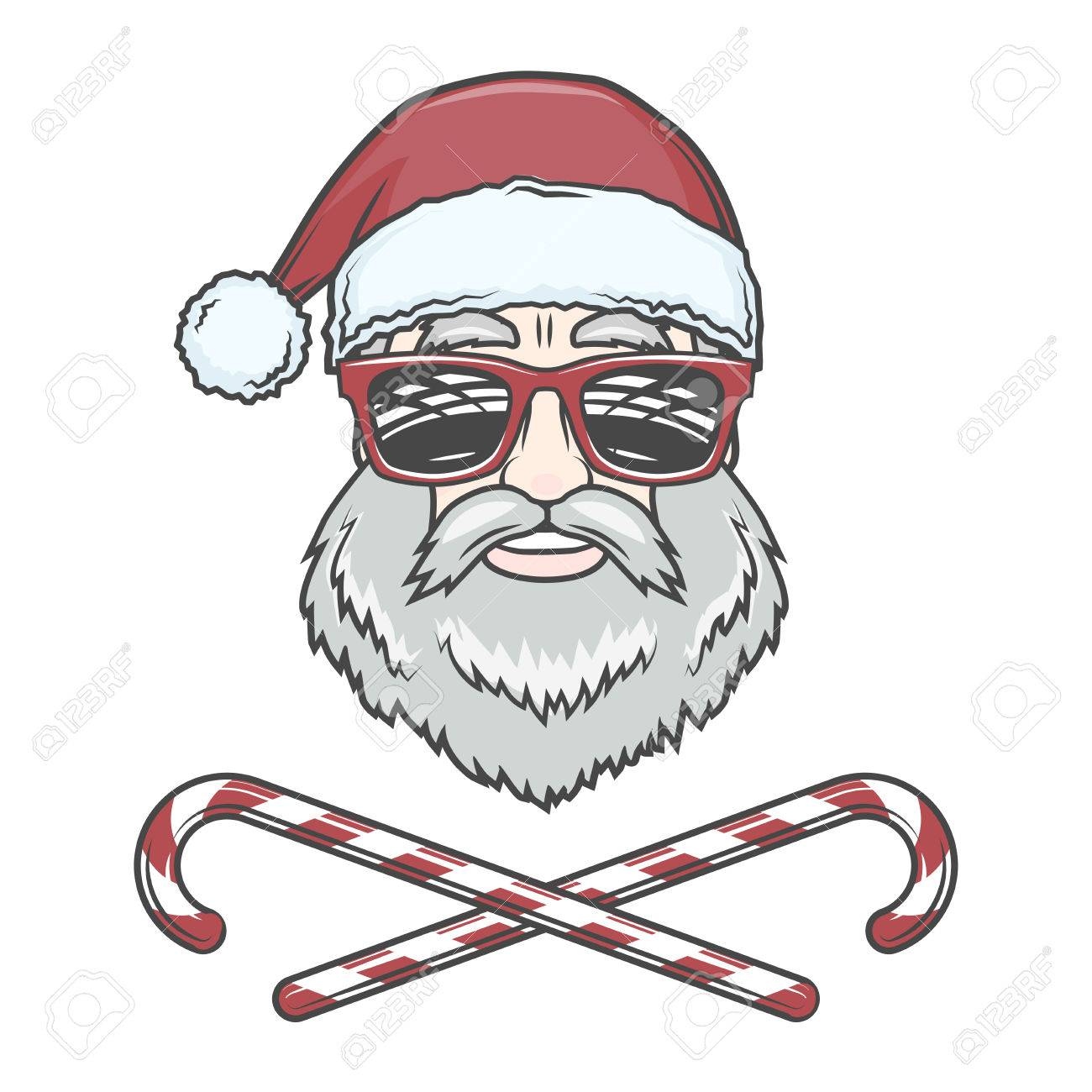 photo regarding Santa Claus Printable Pictures known as Santa Claus biker with sweet cones and hipster gles print..