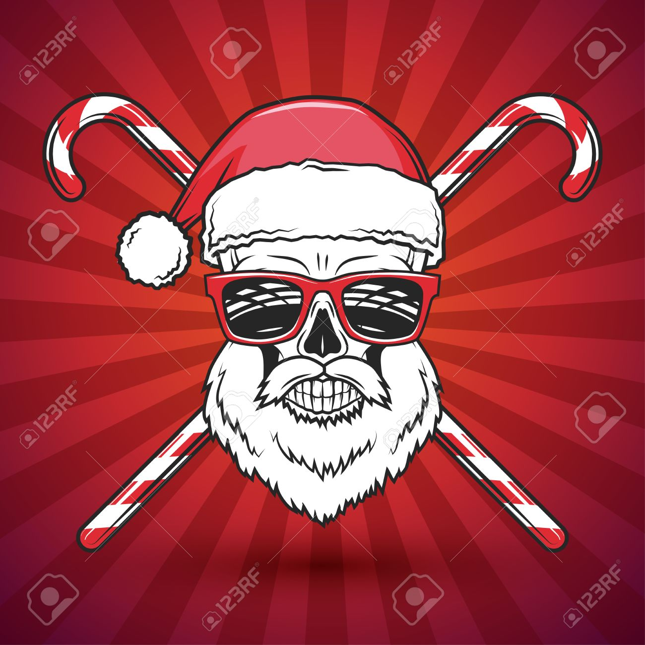 Heavy Metal Christmas.Bad Santa Claus Biker With Candy Print Design Heavy Metal Christmas