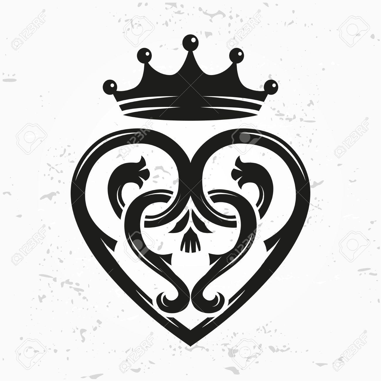 Luckenbooth brooch vector design element. Vintage Scottish heart shape with crown symbol logo concept. Valentine day or wedding illustration on grunge background - 52794905