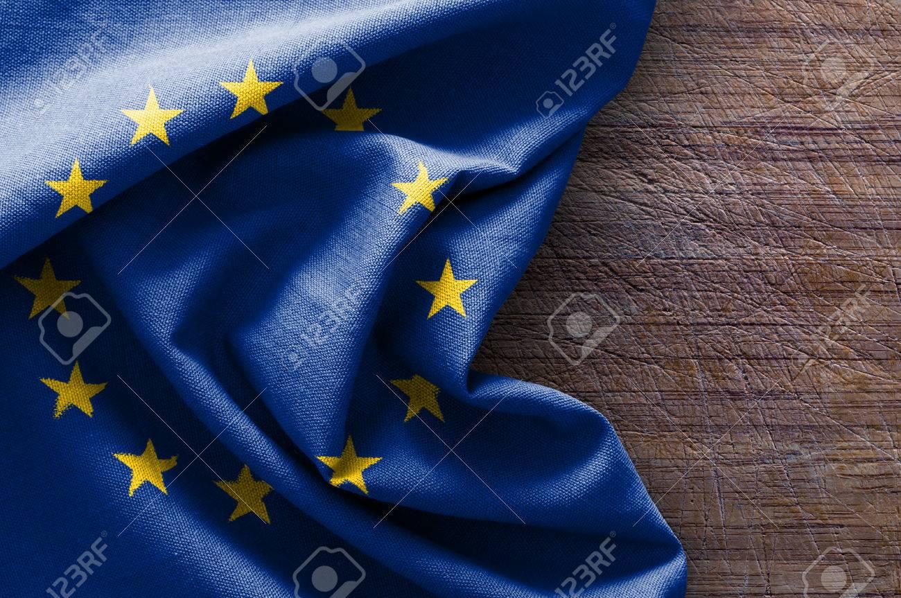 Flag of Europe on wood background - 53614411