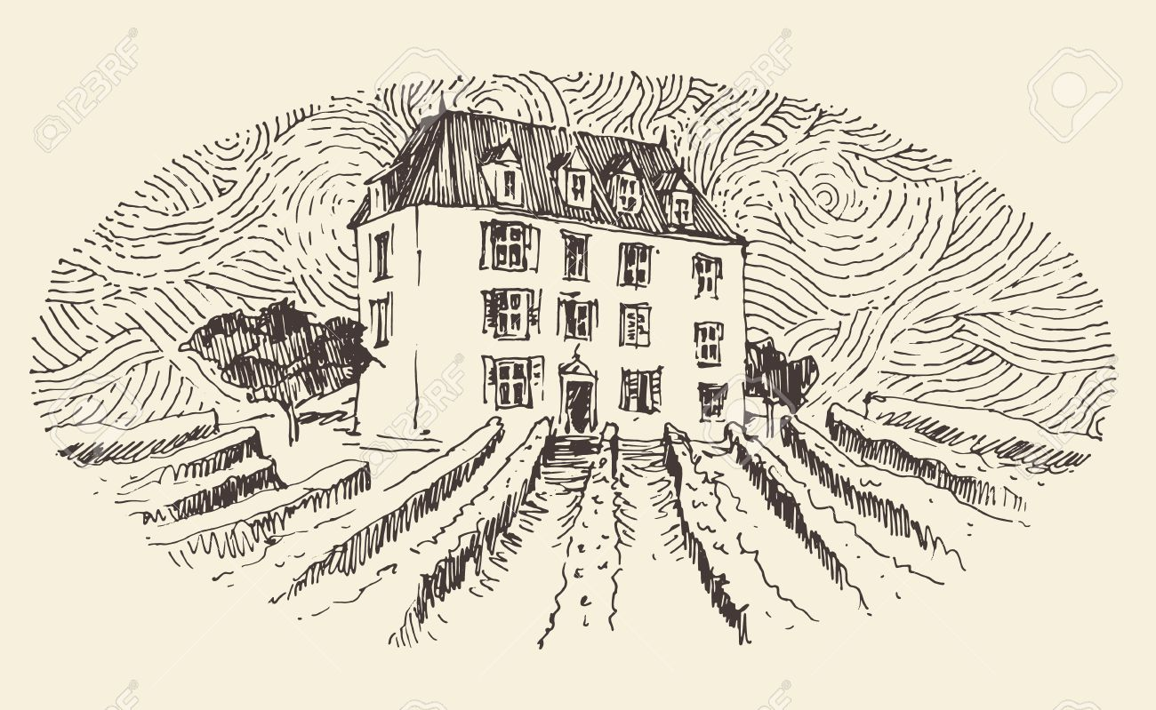 French Province Wine Label Design Architecture Vintage Engraved Illustration Hand Drawn Sketch Stock Vector