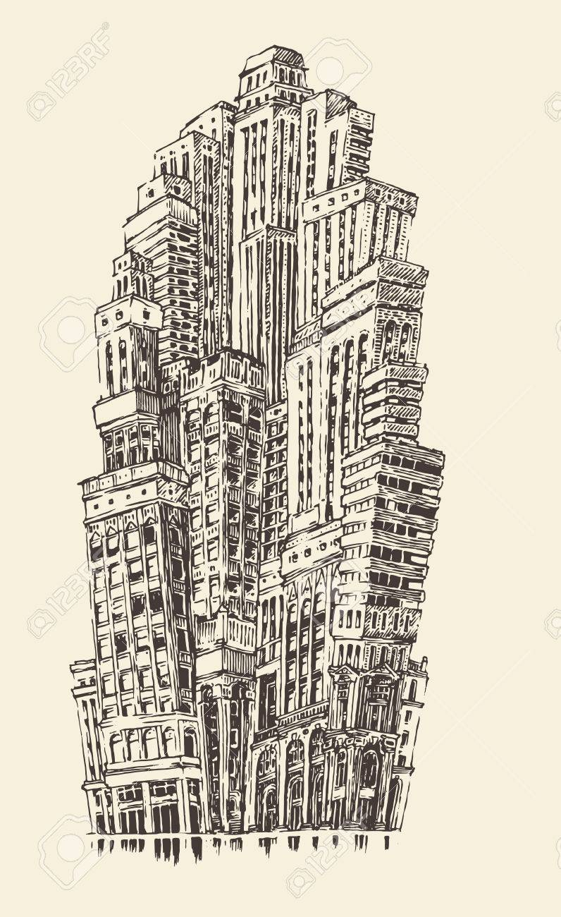 architectural drawings of skyscrapers. Skyscrapers, Big City Architecture Vintage Engraved Illustration Hand Drawn Sketch Stock Vector - 40775801 Architectural Drawings Of Skyscrapers O