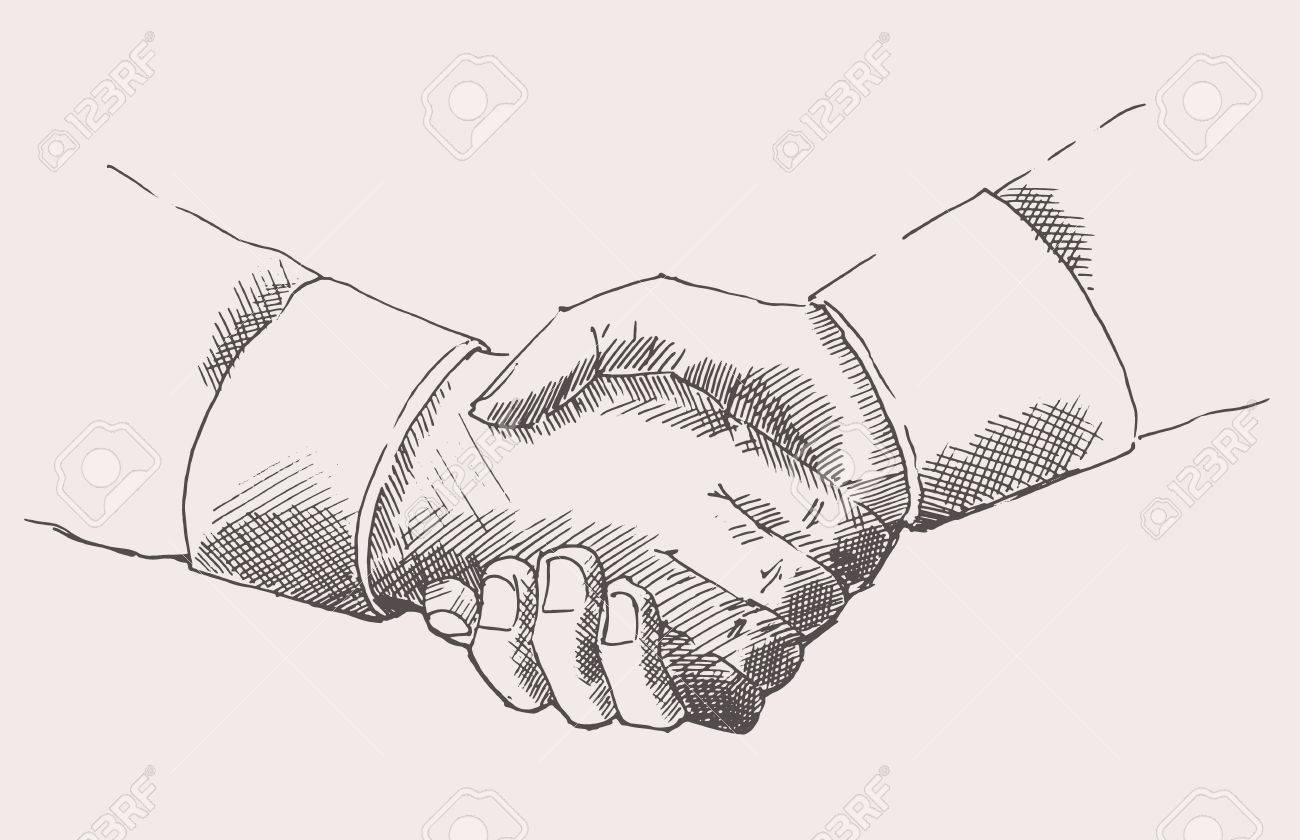 Line Drawing Holding Hands : Drawing shake hands partnership hand drawn vector illustration