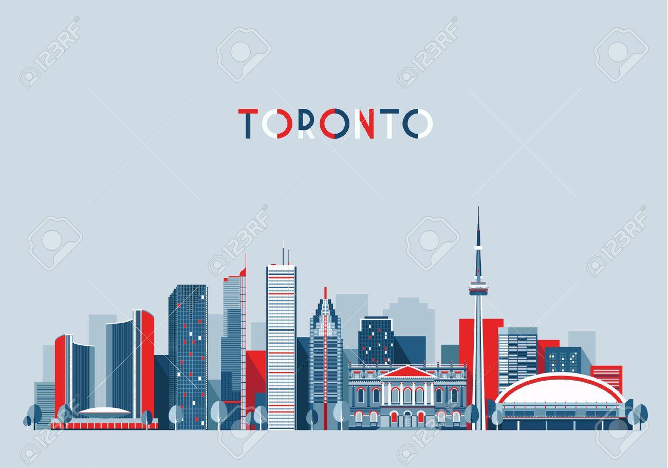 toronto canada city skyline vector background flat trendy