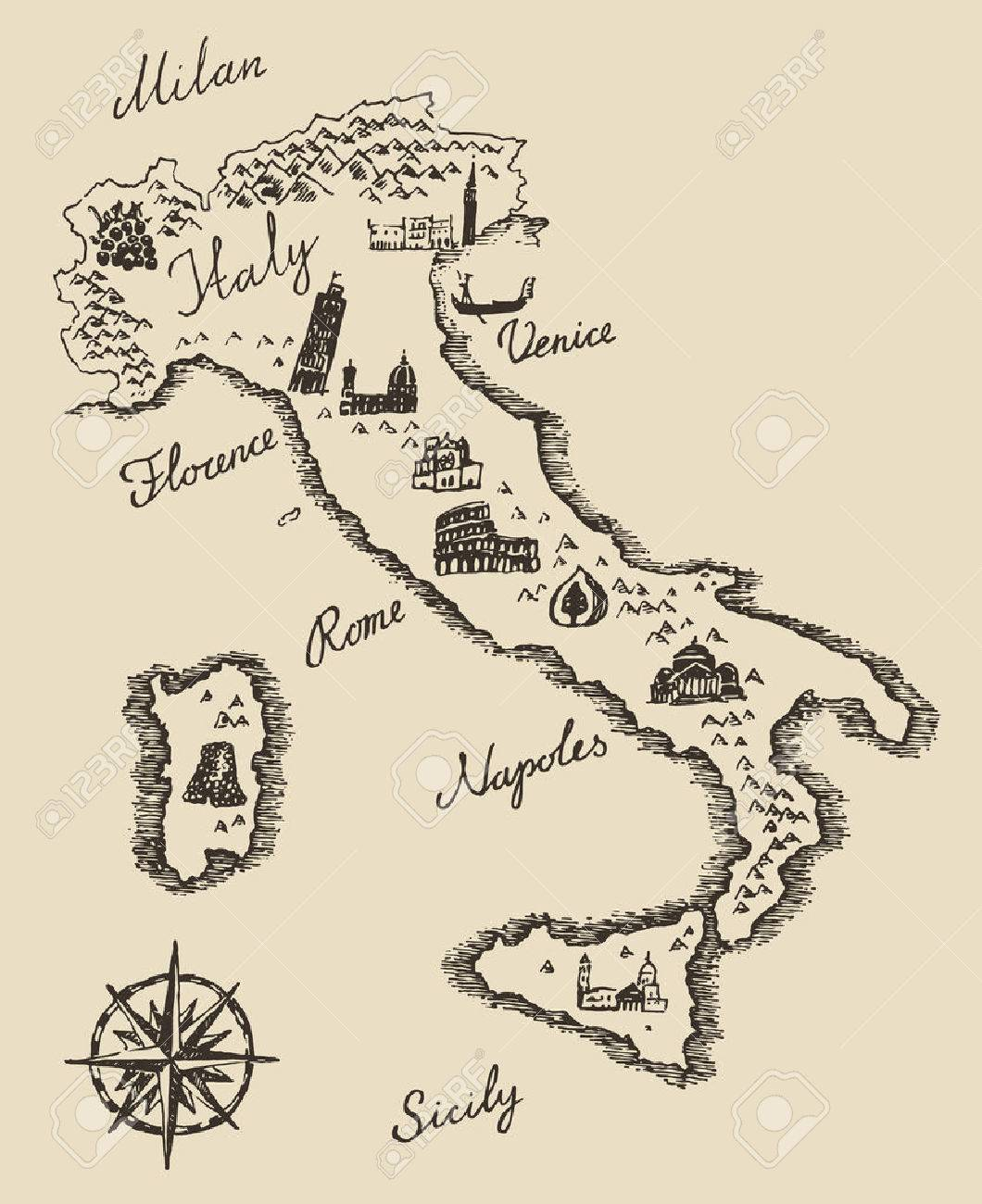 Italian Map Old School Style Vintage Retro Design Engraved Vector ...