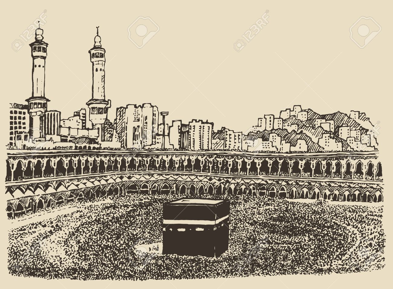 Holy Kaaba in Mecca Saudi Arabia with muslim people vintage engraved illustration hand drawn sketch - 42280756