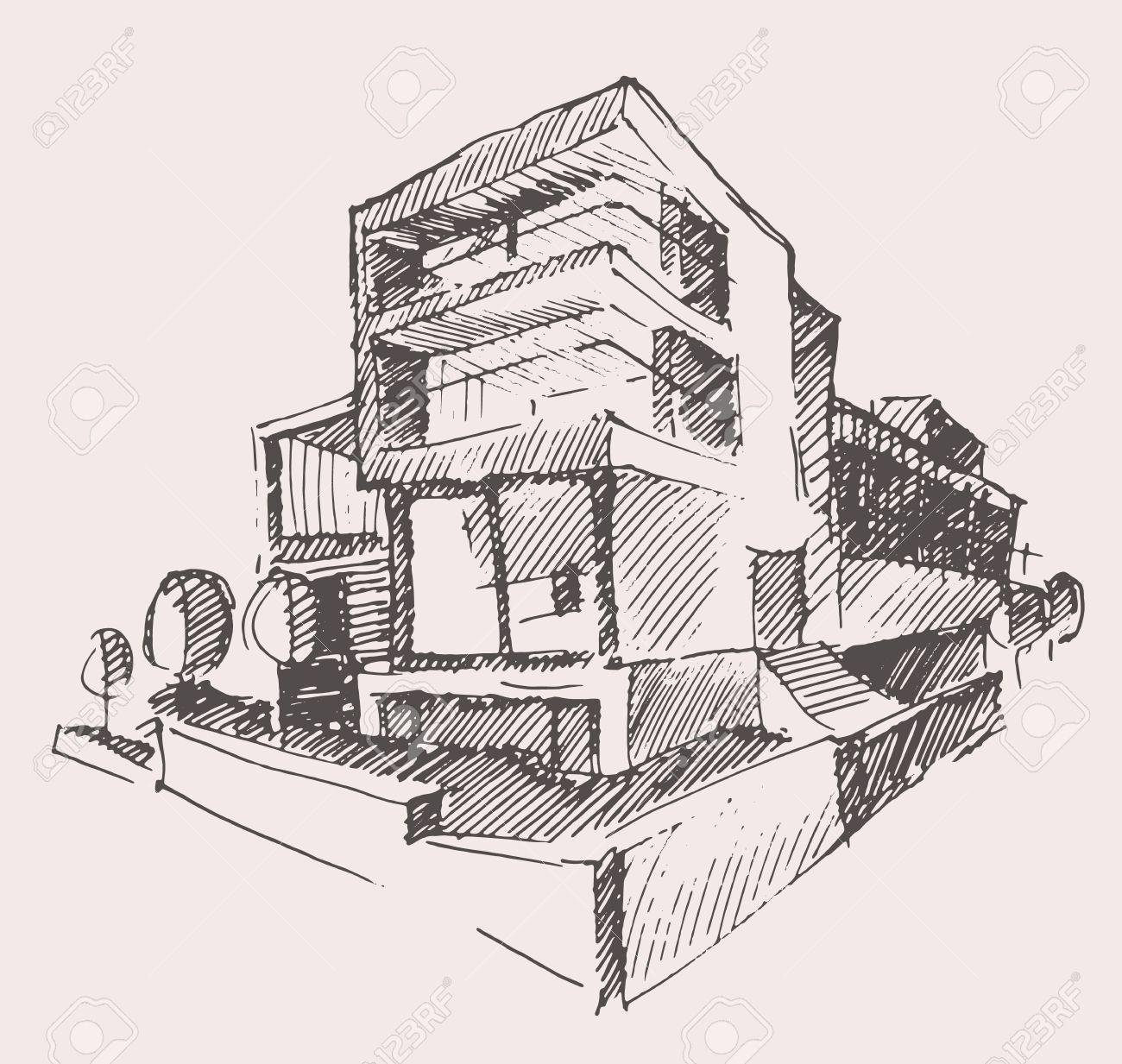 Architekt Entwurf Der Modernen Neues Haus Gravur Vektor Illustration Gebaude Design Konzept Hand