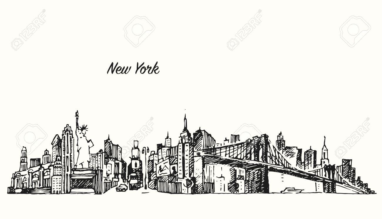 New York City Skyline Vector Vintage Engraved Illustration Hand