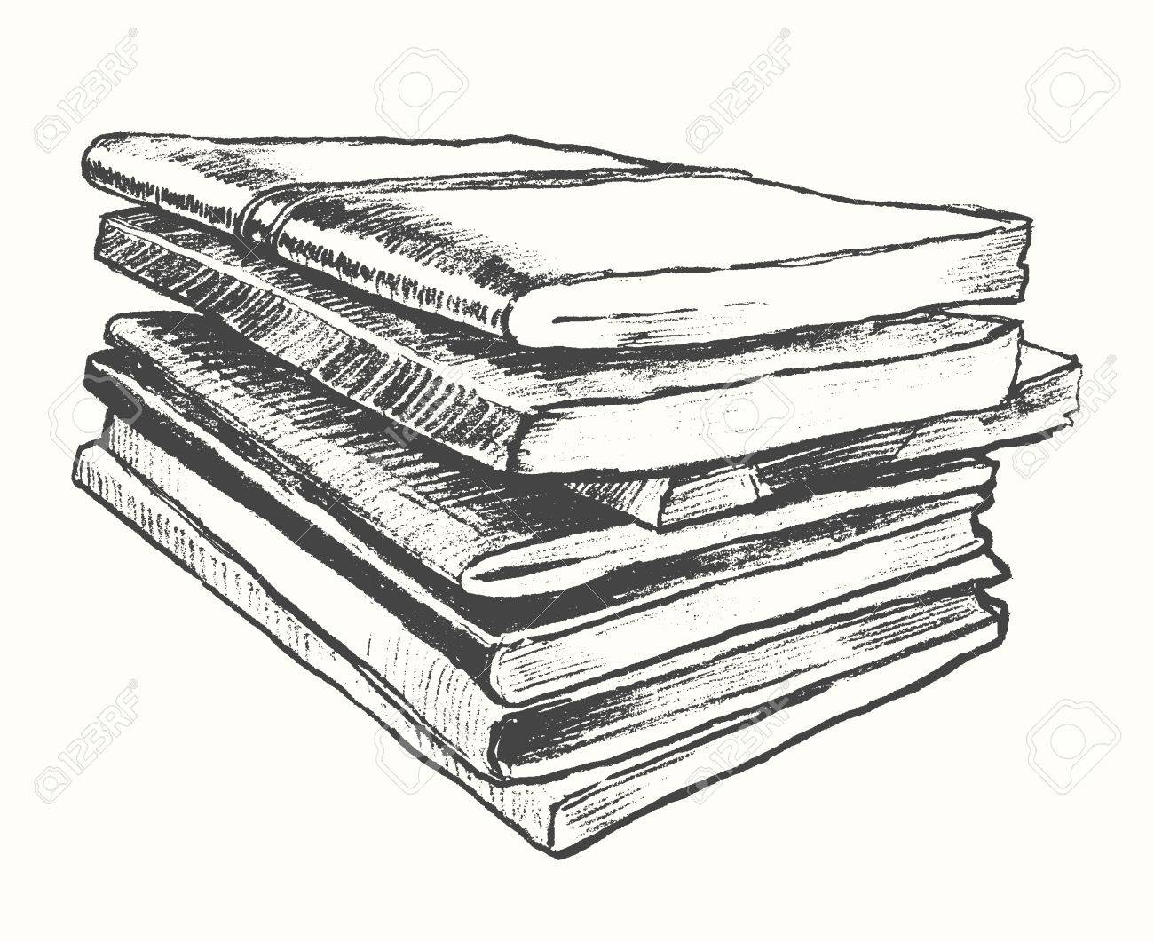 Bücherstapel gezeichnet  Stapel Der Alten Bücher Vintage Hand Gezeichnet Vektor-Illustration ...