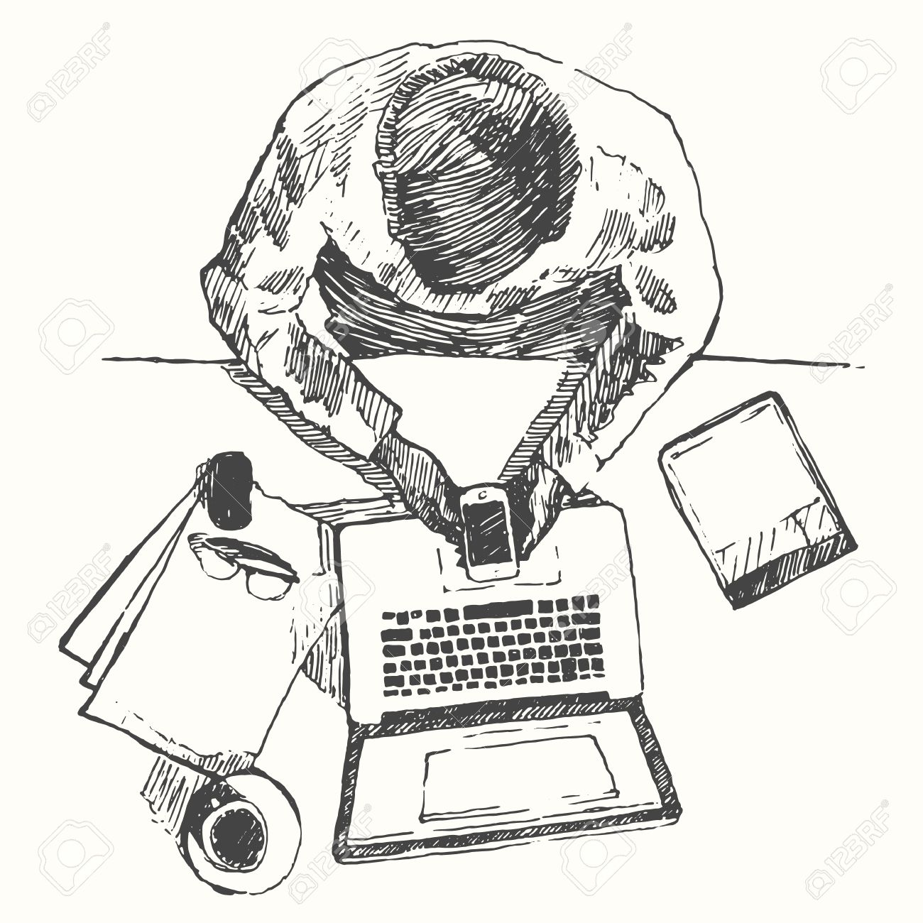 Sketch Of Hands With Computer Man Doing Office Work Top View Royalty Free Cliparts Vectors And Stock Illustration Image 44034766