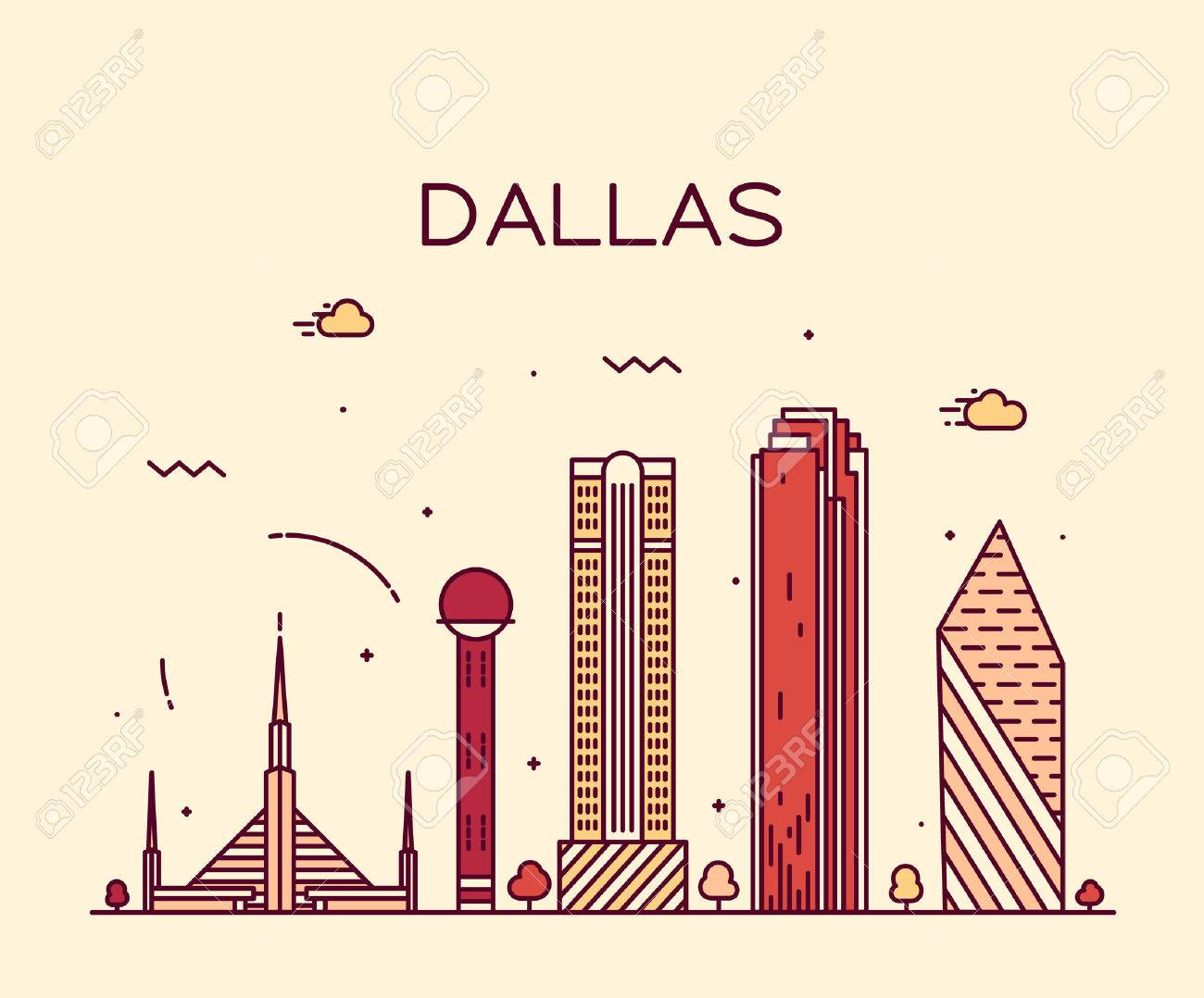 dallas skyline detailed silhouette trendy vector illustration