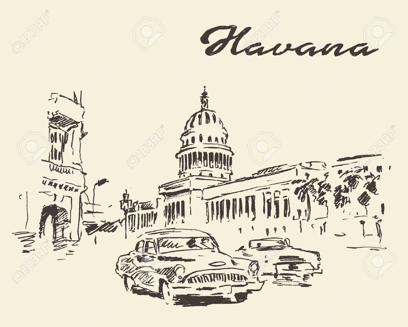 Streets Of Havana With Old Cars Vintage Engraved Illustration ...