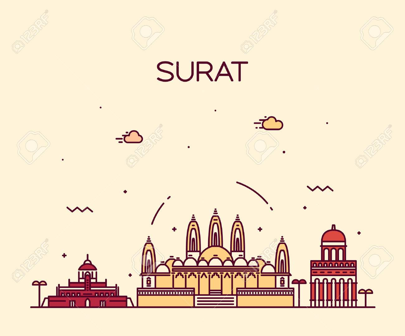 Surat Skyline Detailed Silhouette Trendy Vector Illustration
