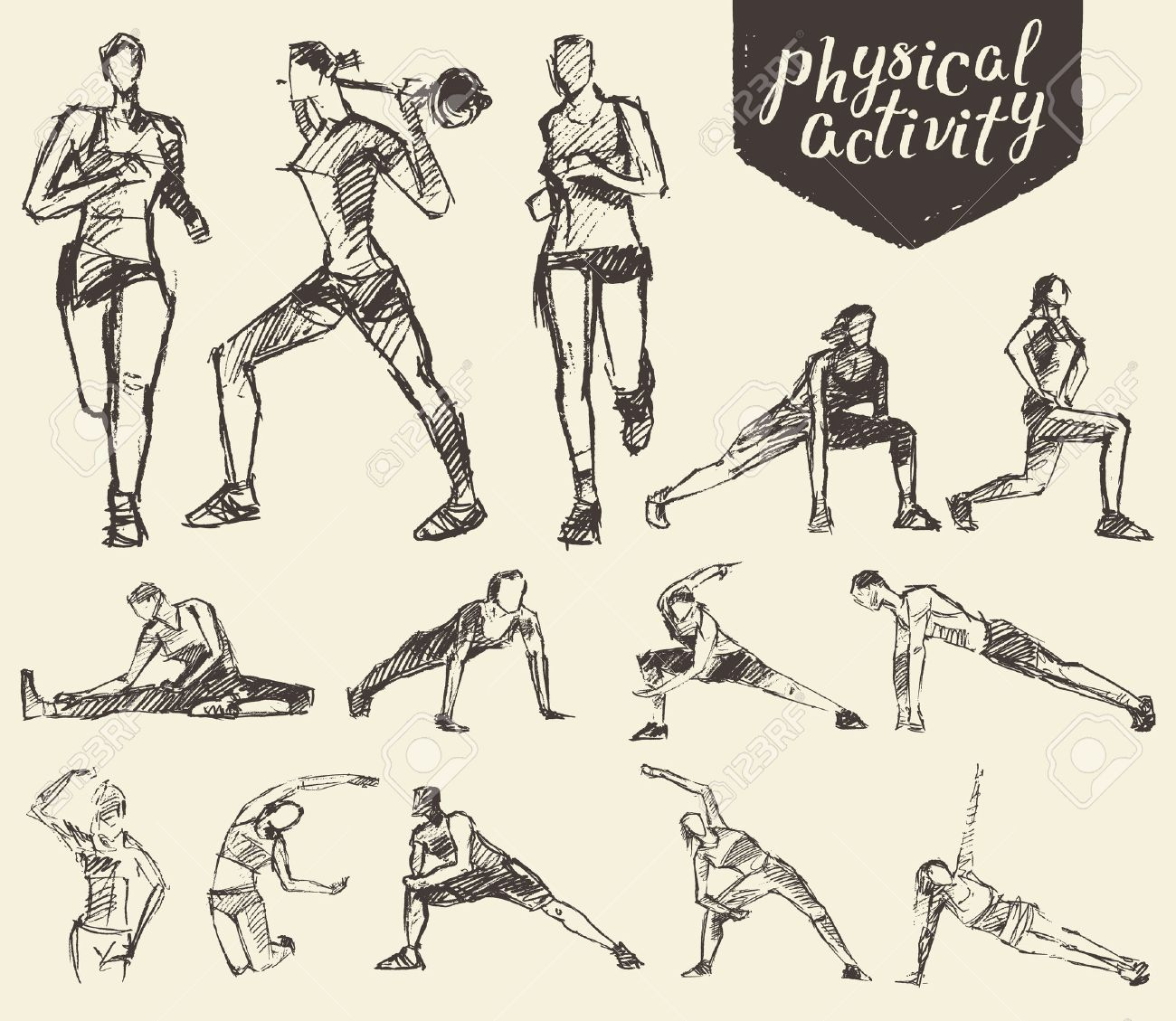 Fitness and gymnastic exercises. Hand drawn vector illustration, sketch - 52881101