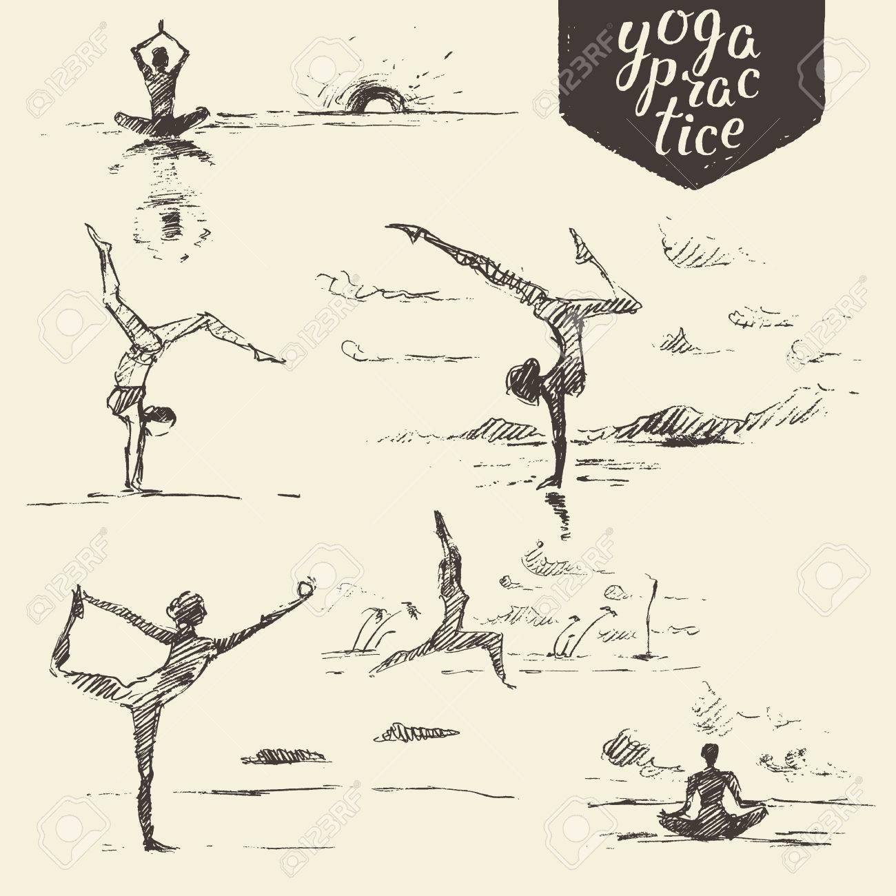 Hand Gezeichnet Sammlung Von Yoga-Übungen, Frau, Yoga, Gesunde ...