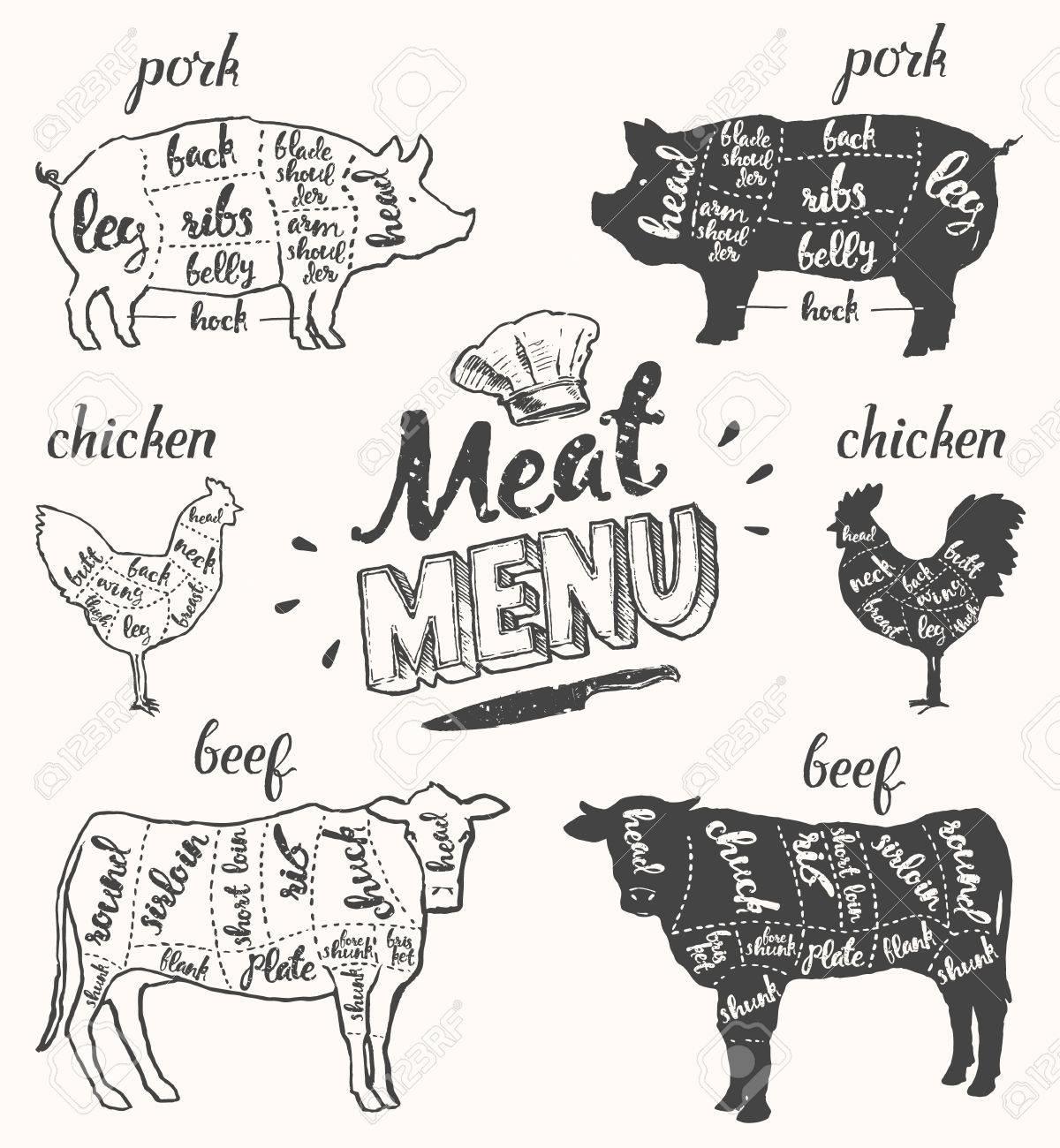 Vintage Restaurant Meat Menu Template. American Scheme Of Pork ...