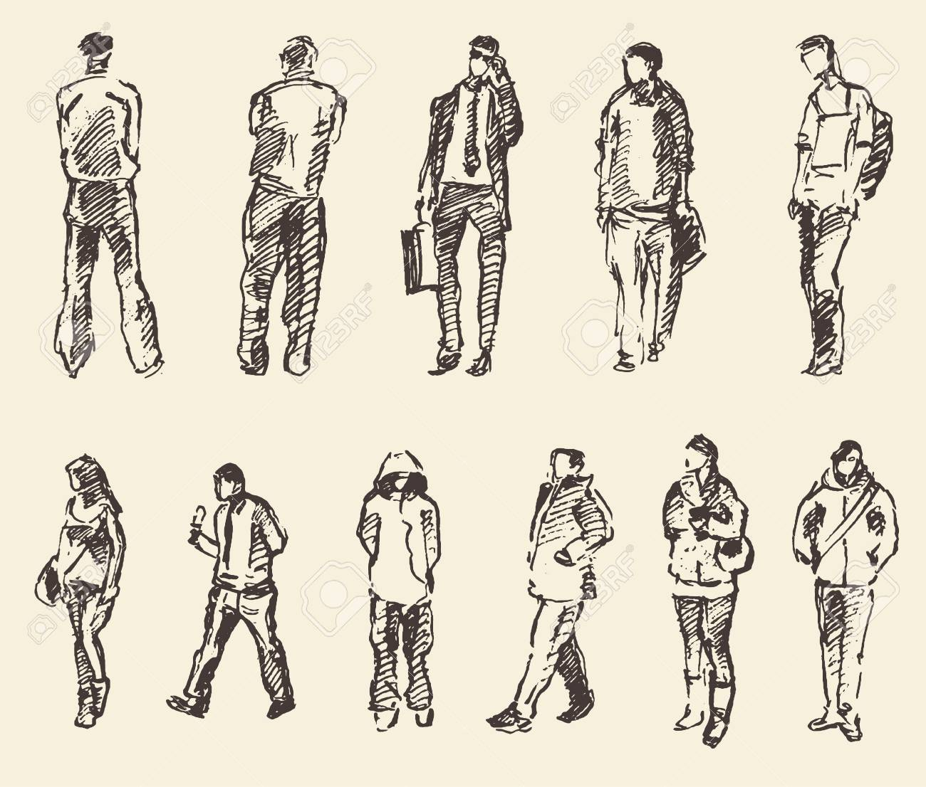 Sketch of people vector Illustration hand drawing draw - 58832449
